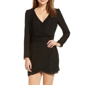 Chelsea28 Lurex Mini-dress in Black & Gold Small